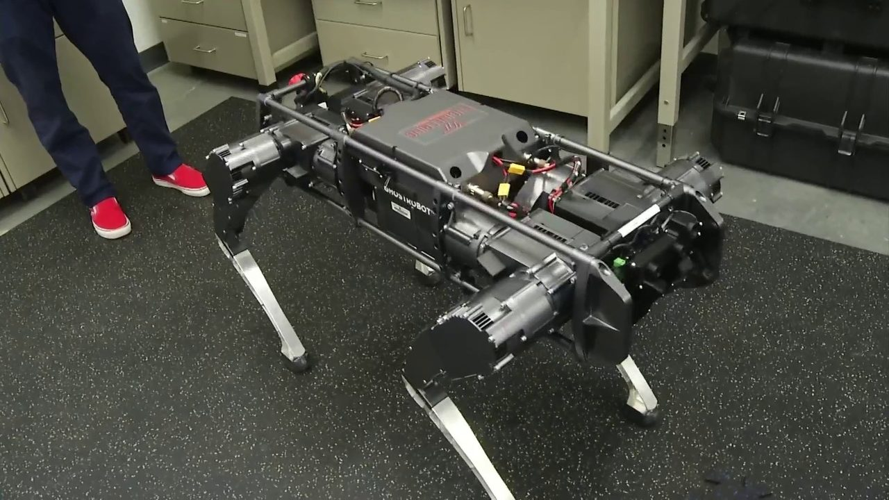 A Robot that does pushups when they score OF Virginia Tech's football team