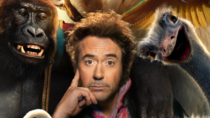 Robert Downey Jr. in his first post-Avengers project is surrounded by animals