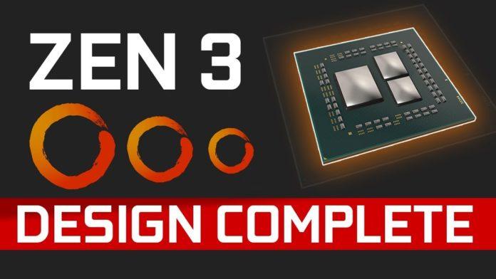 AMD has announced that the Zen 3 is design complete
