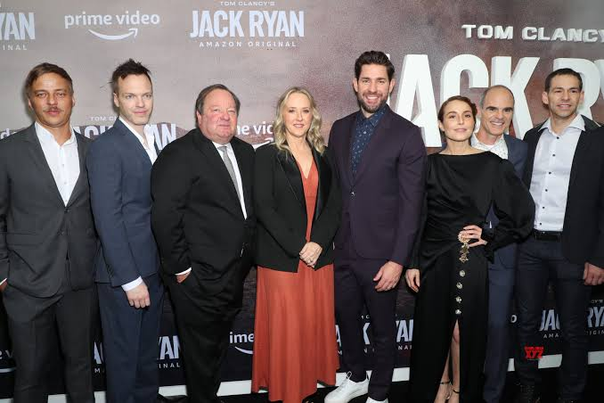 "John Krasinski joins co-stars Noomi Rapace and Dina Shihabi at ""Jack Ryan season 2"" premiere"