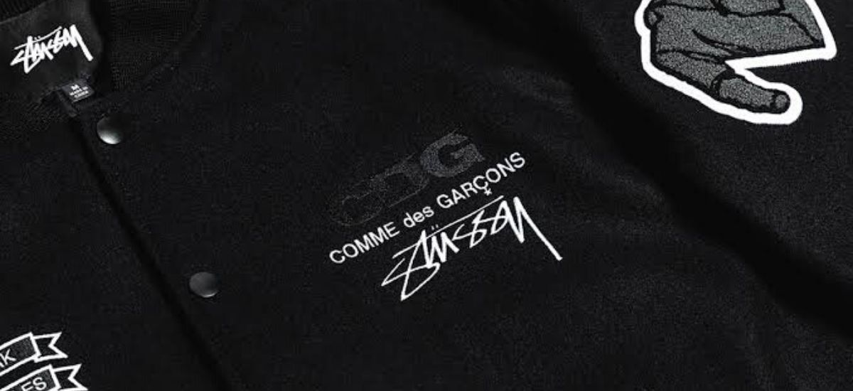Check Out A Closer Look of COMME des GARÇONS x Stüssy 40th-Anniversary Varsity Jacket