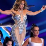 Jennifer Lopez Looked Sensational In A Skimpy Metallic Bodysuit For A New remix track with Black Eyed Peas and J Balvin